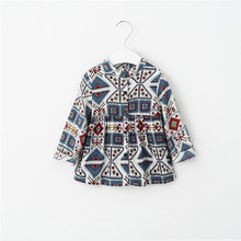 Nation Style Kids Girls Vintage Floral Shirts Baby Girl Spring Long Sleeve Fashion Blouse 2016 children's clothing