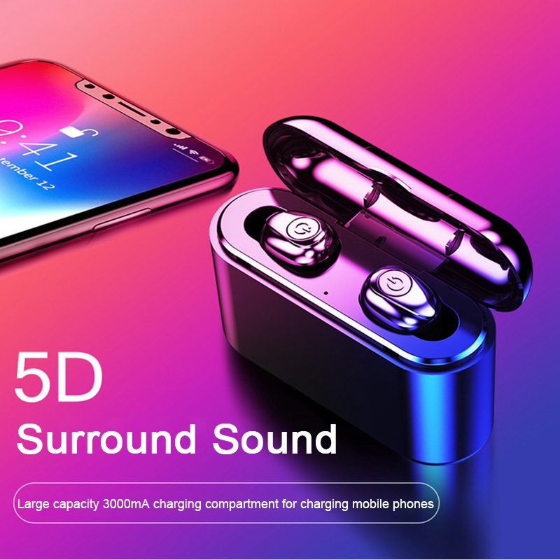 Original Bluetooth 5.0 TWS Earphones Wireless Headphone CVC8.0 Noise Cancelling IPX7 Waterproof Stereo Charging Box Power Bank