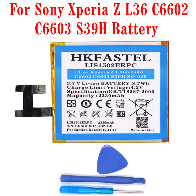 HKFASTEL New LIS1502ERPC original mobile phone battery For Sony Xperia Z L36h L36i c6602 C6603 S39H SO-02E batteries parts