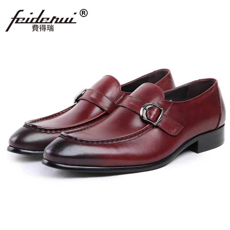 цена на New Vintage Man Handmade Moccasin Shoes Genuine Leather Round Toe Slip on Loafers Monk Strap Men's Casual Footwear JS89