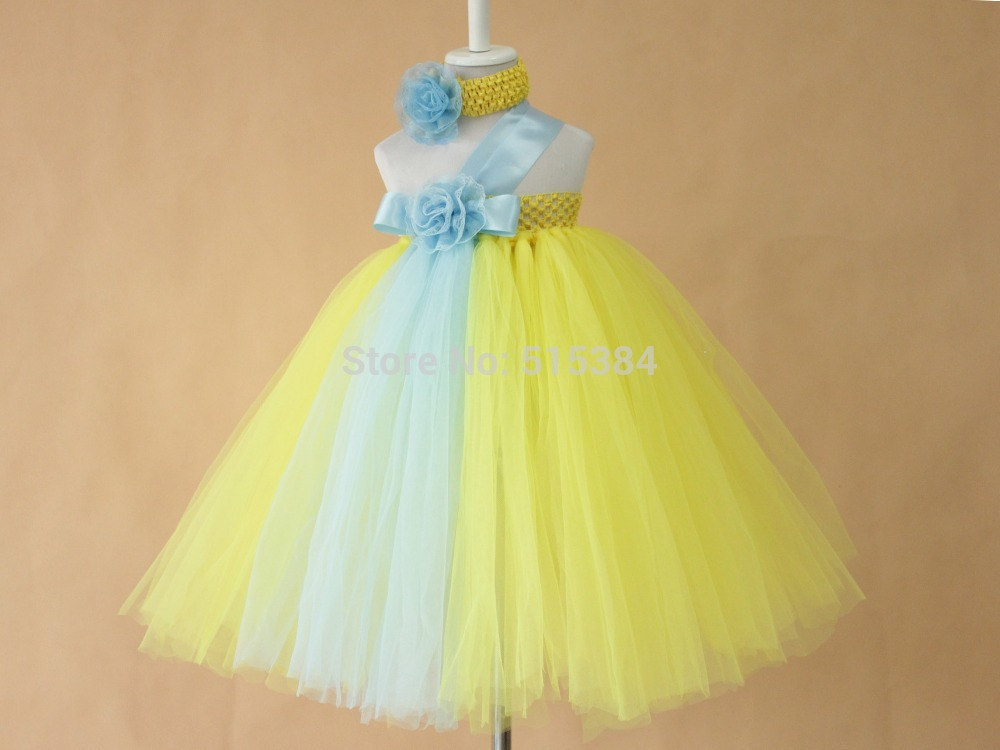 Online shop new bright color dresses for flower girls baby kids online shop new bright color dresses for flower girls baby kids girls birthday party dresses yellow light blue flower dresses headband aliexpress mobile mightylinksfo