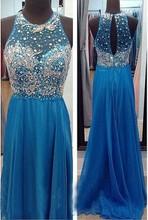 See Blau Perlen Abendkleider Sparkly O-ausschnitt Chiffon Frau Kleid für Prom Night Luxus Design