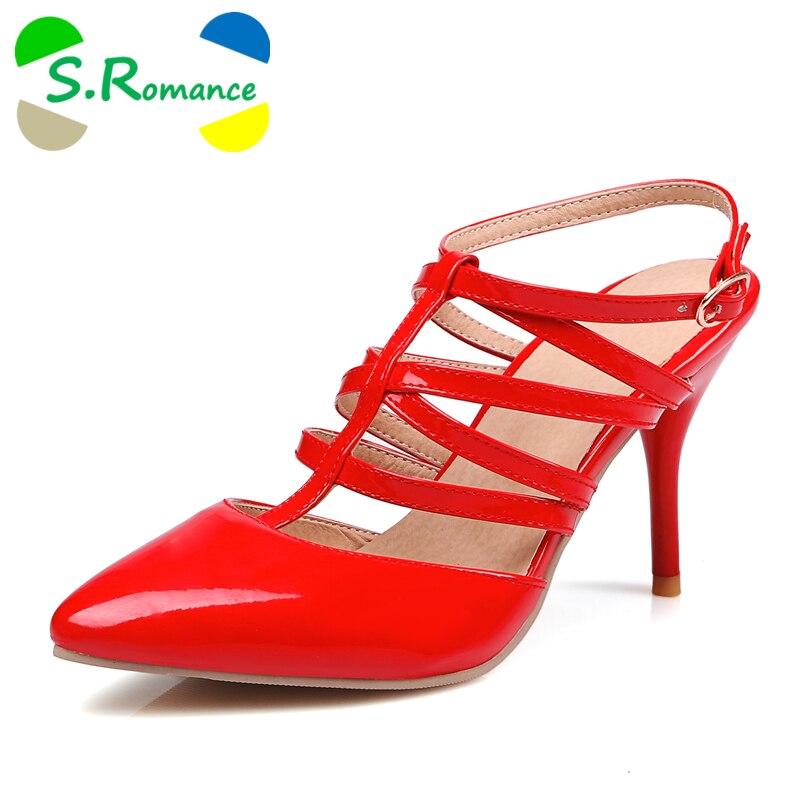 S. الرومانسية النساء الصنادل زائد حجم 30 43 أزياء الصيف مشبك حزام حذاء حريمي كعب عالي سيدة امرأة حذاء أسود أبيض أصفر أحمر SS780-في كعب عالي من أحذية على  مجموعة 1
