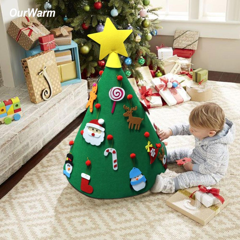 OurWarm 3D DIY Sentiu Árvore De Natal Ano Novo Presentes para Crianças Brinquedos Da Criança Enfeites de Árvore de Natal Artificial Casa Decoração de Suspensão