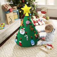 OurWarm 3D bricolage feutre enfant en bas âge arbre de noël nouvel an enfants cadeaux jouets arbre artificiel noël décoration de la maison suspendus ornements