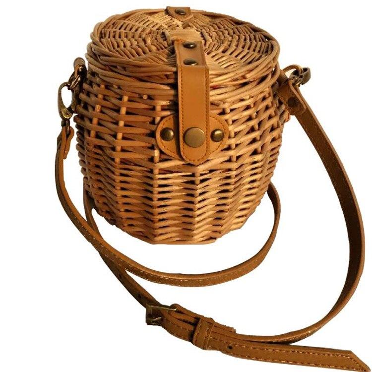 Bambu retro rattan saco nova palha bolsa