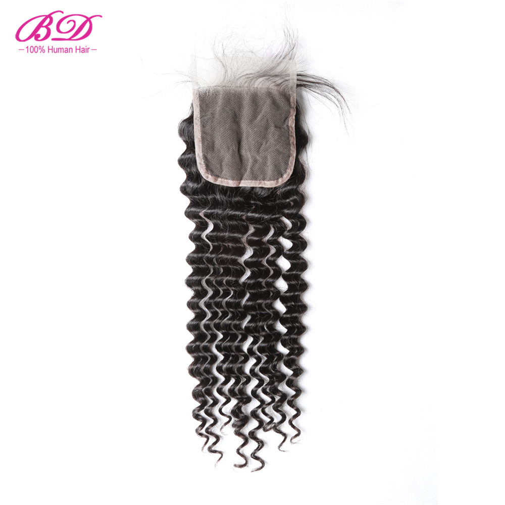 BD HAIR Deep Wave Lace Closure With Baby Hair Free Part Natural Color Brazilian Human Hair Remy Free Shipping