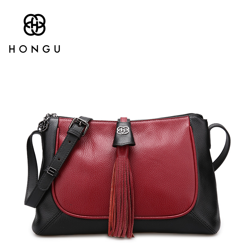 HONGU Luxury Genuine Leather Shoulder Bags Women Handbag Authentic Female Tassel Tote Designer Brand Famous Messenger bags Zippo no 1 new 2015 luxury women handbag genuine leather famous brand handbag ol women s shoulder designer women messenger bags hn07