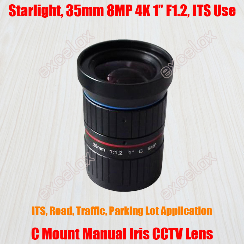 Cctv Parts Conscientious Starlight 8mp 4k 1 35mm F1.2 Manual Its Road Traffic Surveillance Cctv Lens C Mount For 5mp 6mp 8 Megapixel Hd Box Body Camera Removing Obstruction