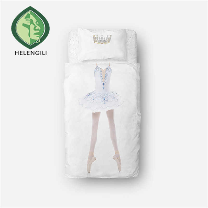 HELENGILI 3D Bettwäsche Set Ballett tänzerin Druck bettbezug-set lebensechte bettwäsche mit kissenbezug bett set home Textilien # RW-06