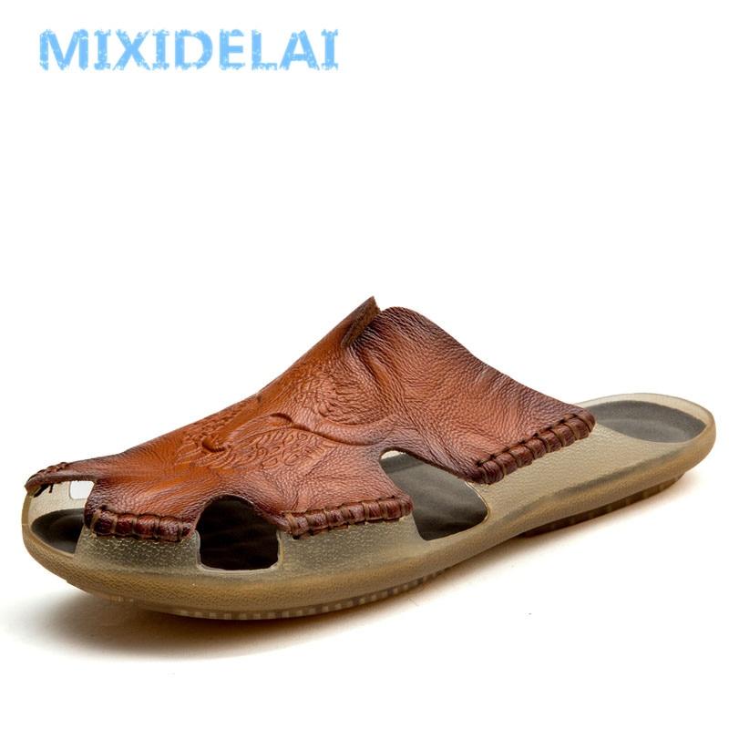MIXIDELAI New Quality Leather Non-slip Slippers Men Beach Sandals Comfortable Summer Shoes Men Slippers Classics Men Flip Flops