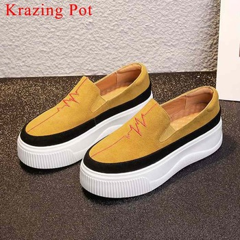 2019 kid suede round toe thick high bottom mixed colors slip on leisure shallow vulcanized shoes waterproof casual shoes L8f2