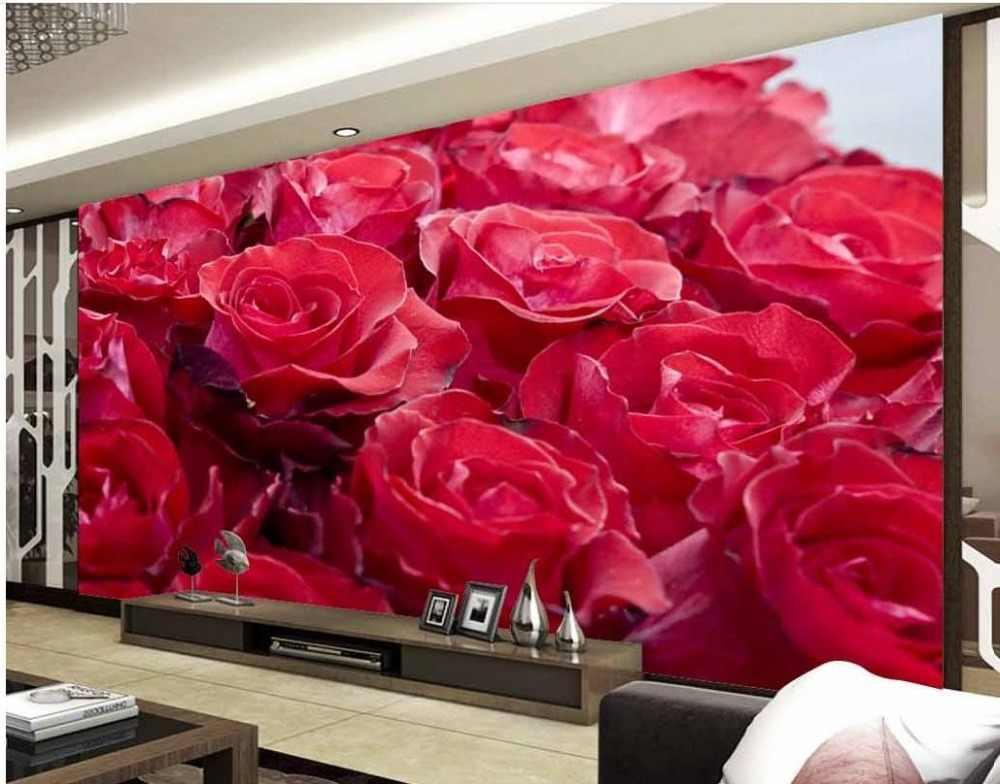 Kustom Dinding Mural 3d Tiga Dimensi Mural Wallpaper 3d Bunga Mawar Merah Living 3d Wallpaper Custom Wall Mural Wall Mural 3dmural 3d Aliexpress