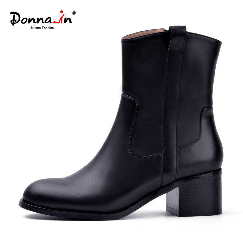 Donna-in 2018 autumn/winter new fashion shoes Side zipper Handmade genuine leather boots Round Toe square heel women boots donna in genuine leather women boots shoes classic round toe thick heel ankle boots black calf leather ladies boots