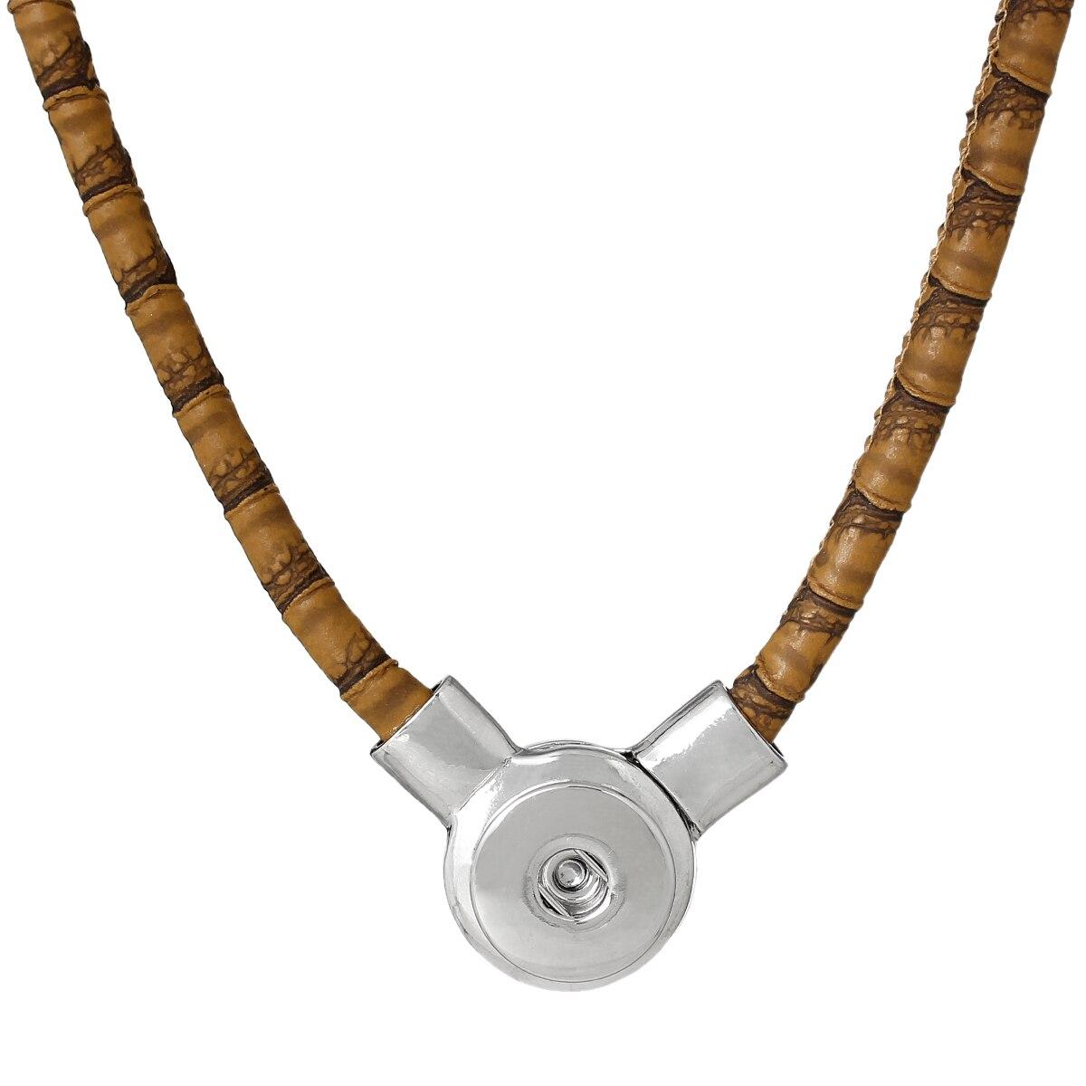 "8SEASONS PU Fashion Snap Jewelry Necklace Brown Silver Tone 50cm x2.3cm(<font><b>19</b></font> <font><b>5</b></font>/<font><b>8</b></font>"" <font><b>x</b></font> 7/<font><b>8</b></font>""),Snap Charm Hole Size: 6mm,1 PC"