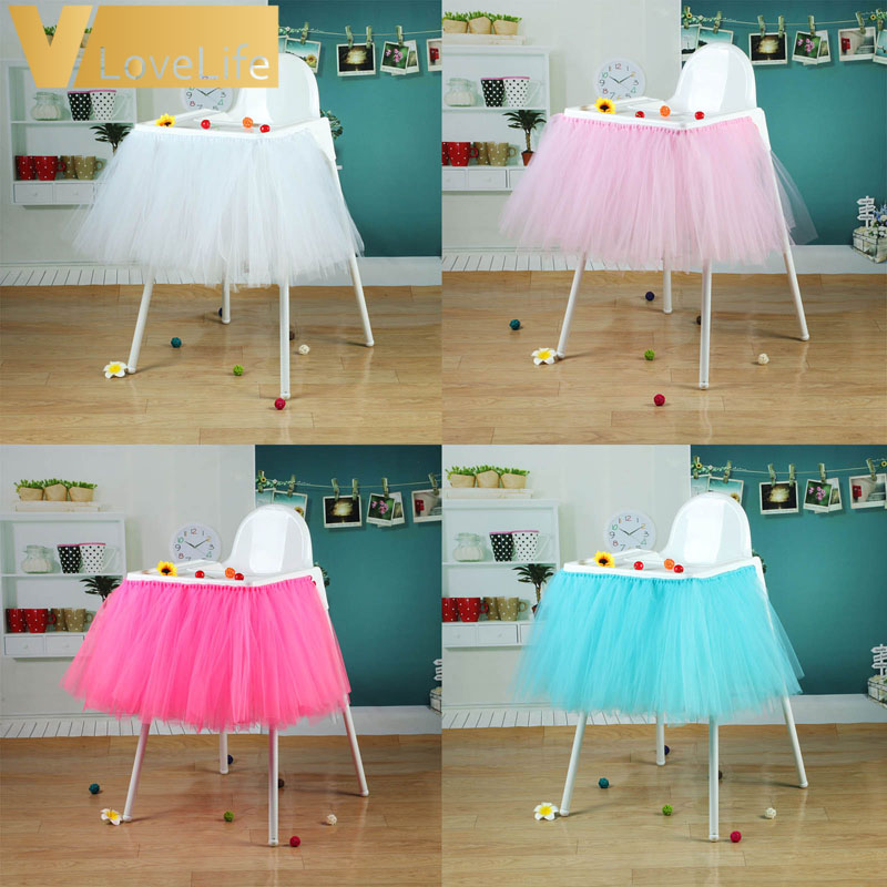 Tutu Tulle Table Skirts Baby Shower Decoration For High Chair Home Textiles Event Party Supplies 4 Color For Choose