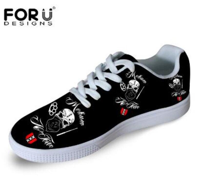 ФОТО FORUDESIGNS Skull Printing Women Casual Shoes Fashion Casual Skate Shoe Comfortable White Bottom Skate Zapatos Shoes Walking