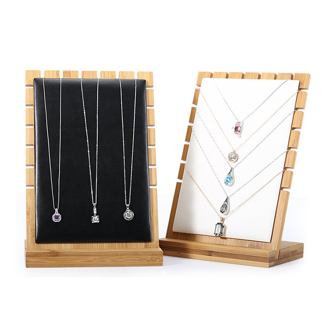 New Solid Bamboo Wood Pendant Necklace Display Holder Jewelry Stand Jewellery Blocks Leather