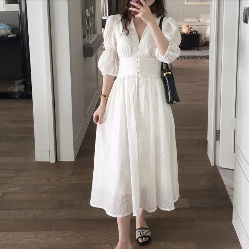French romantic style White Dresses 2019 Summer V neck Single breasted Puff sleeve Long Dress ...