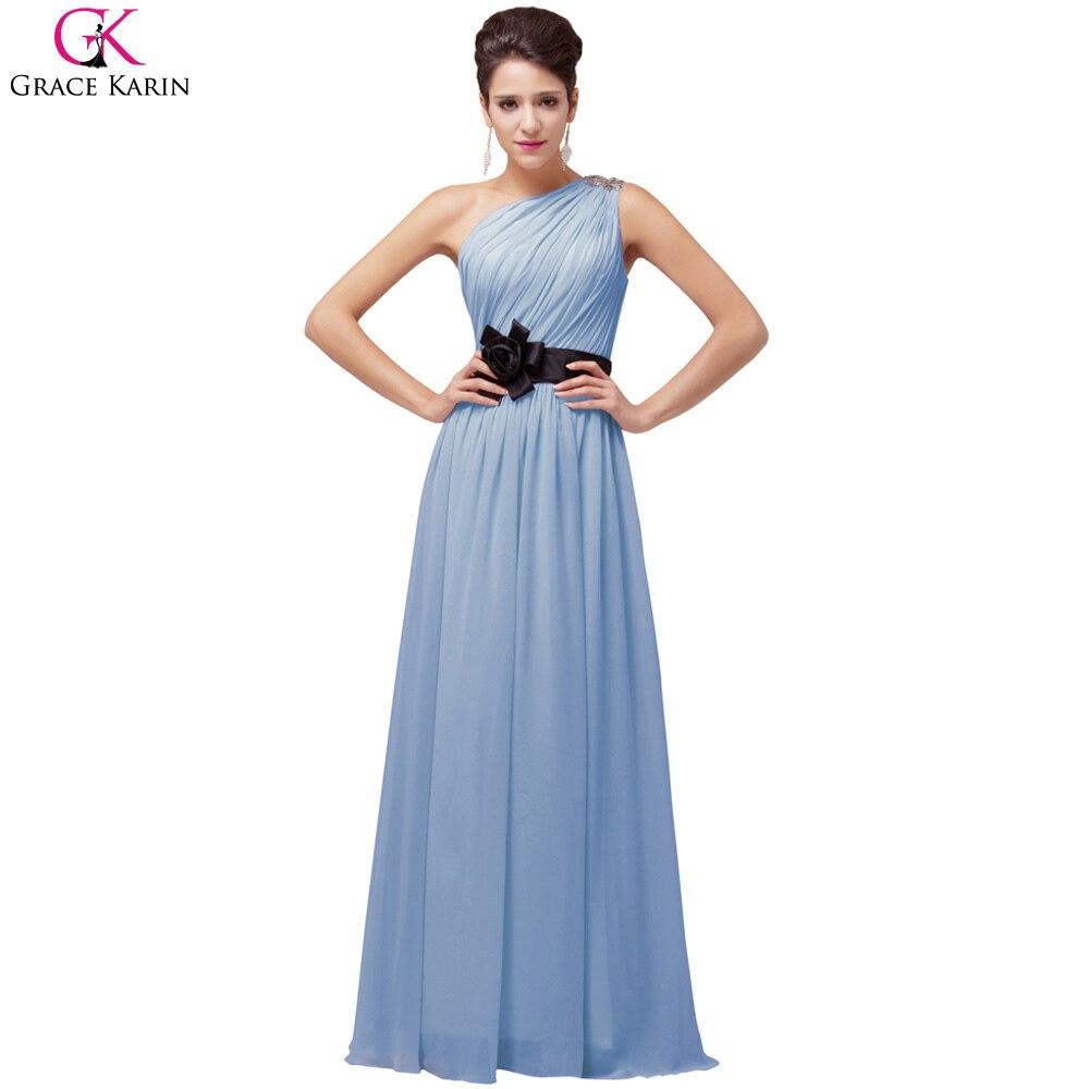 Grace Karin One Shoulder Yellow Prom Dresses Chiffon Purple Pink Ice ...