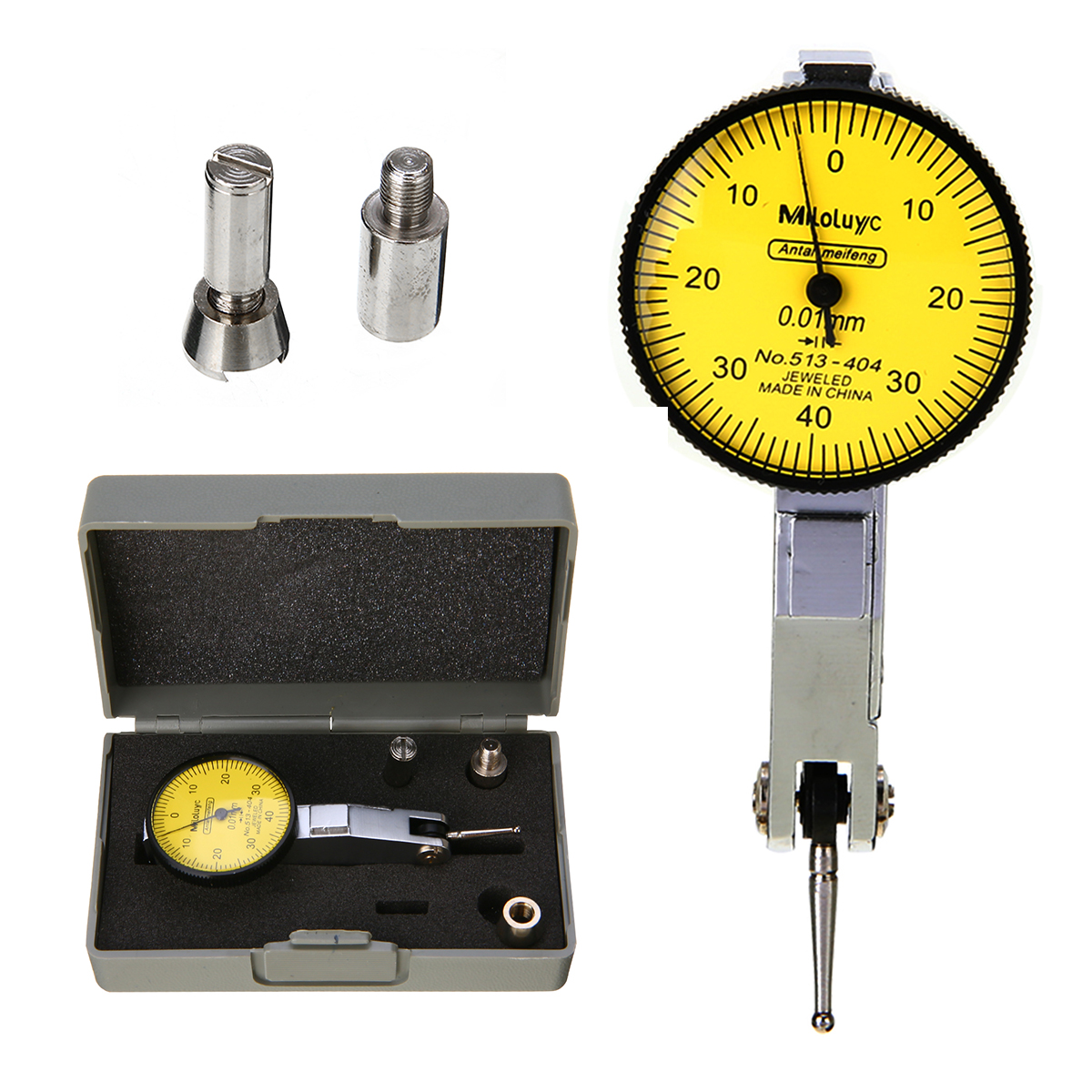 Portable Mini Lever Dial Gauge Test 0.01mm Resolution Indicator Precision Metric with Dovetail Rails 0-40-0 Measure Tool