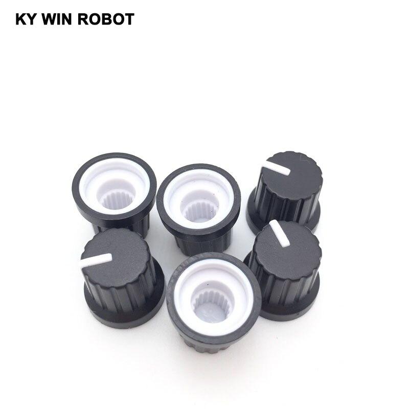 10 PCS/lot boutons rotatifs de contrôle du Volume pour potentiomètre d'arbre moleté Dia 6mm Durable