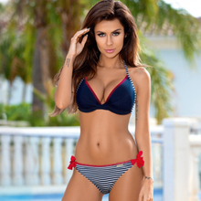 New Womens Sexy Bikinis Push Up Bra Beach Swimsuit Handmade Crochet Stripe Bottom Bikini Summer Split Body Set