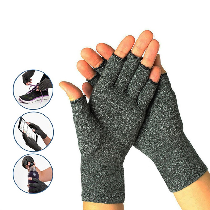 Half finger cycling gloves Arthritis pressure health gloves ash high elastic breathable anti-edema rehabilitation riding gloves(China)