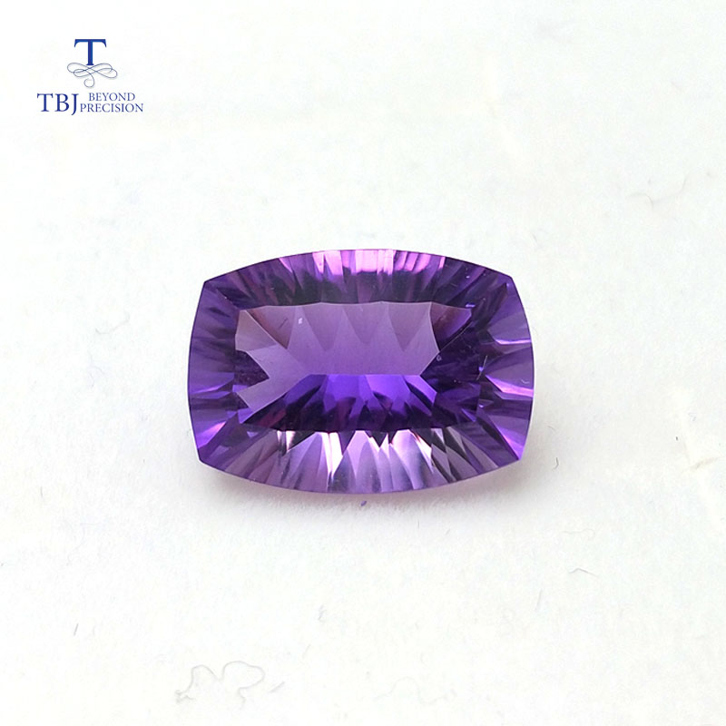 Tbj natural amethyst cushion 10 14mm concave cut ard 6ct for 925 silver jewelry mounting 100