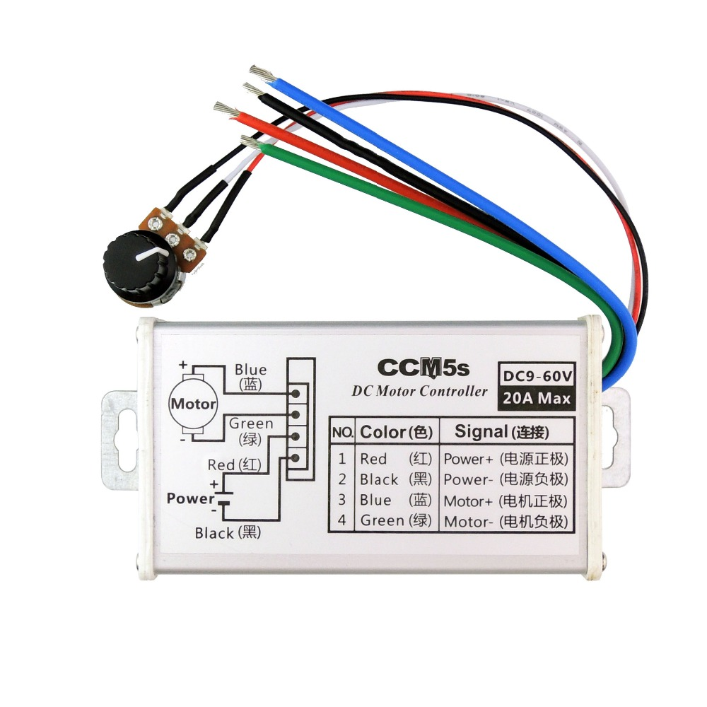 CCM5S 9V 12V 24V 36V 48V 60V DC 20A DC Motor Speed Controller pulse width modulation PWM Reserve with Metal Shell