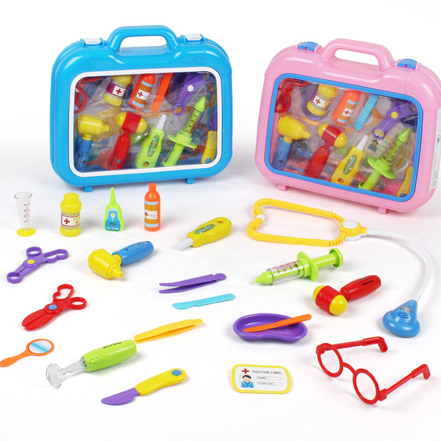 New Arrival Children Play With Doctors And Medical Simulation Toolbox Baby Toys Puzzle 21 Suit Bag Mail Shots Free shipping