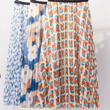 Korean Vintage Style Blue Flower Print Floral Pleated Long Skirts Womens Boho High Waisted Elastic Waist A-line Beach Skirt все цены