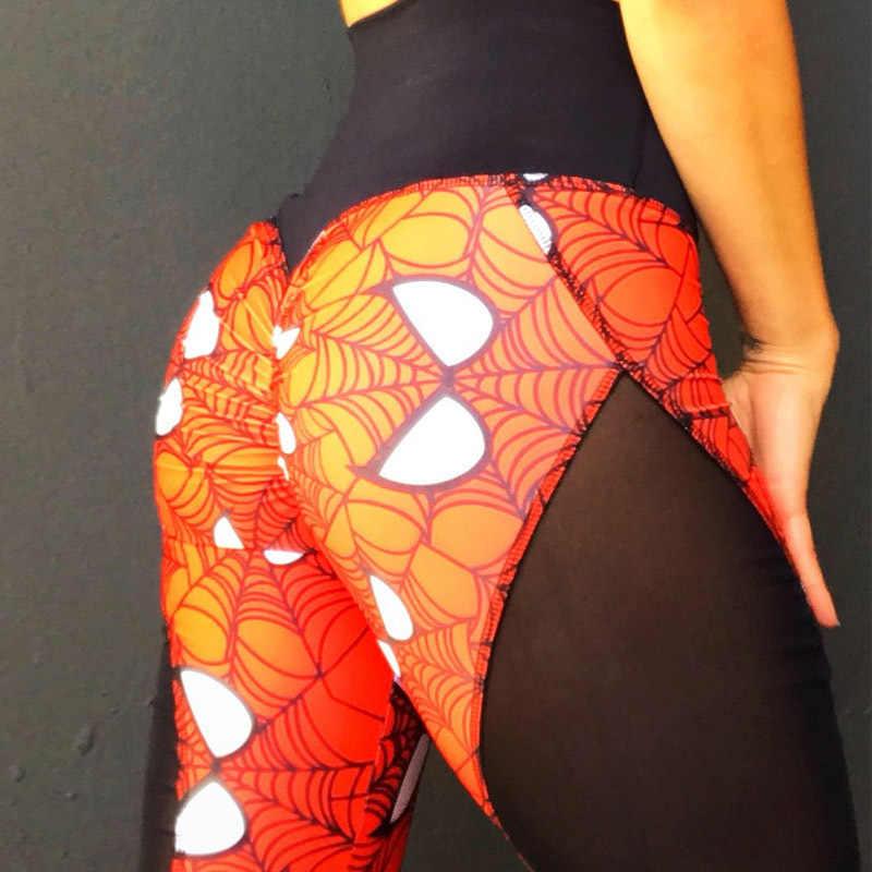 New Super Herói Impressão Mulheres Push Up Leggings Sexy Malha Patchwork Cintura Alta Leggings de Fitness Respirável Calças de Secagem Rápida