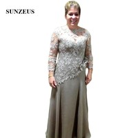 Sheer Lace Long Sleeve Mother of the Bride Dresses Elegant Groom Mother Dress A Line Chiffon Wedding Party Dresses SMD31
