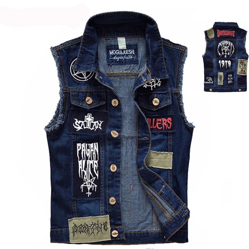 US $23.86 43% OFF|Klasyczny vintage męskie dżinsy kamizelka kurtki bez rękawów moda Patch wzory Punk Rock styl zgrywanie kowboj wytarte dżinsy