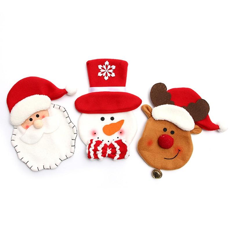 5 Stks/set Cartoon Kerstman Herten Bestek Zak Leuke Pocket Vork Mes Candy Houder Tafel Diner Festival Decoratieve Servies Stevige Constructie