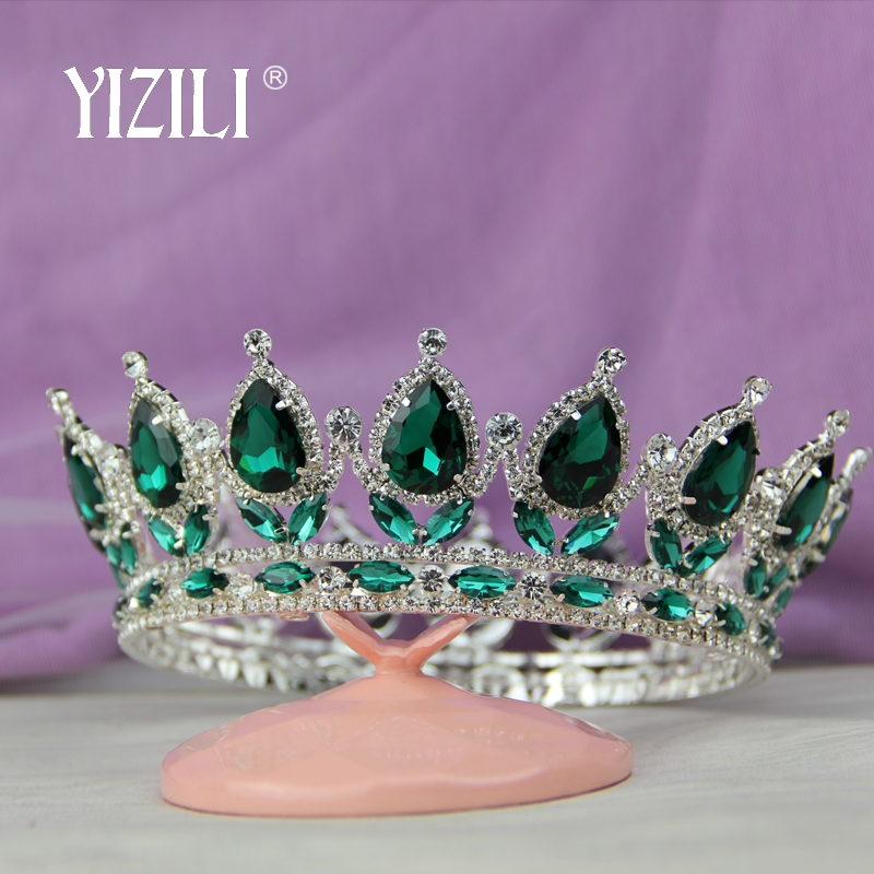 YIZILI big crown Vintage Style Pageant Beauty Contest Tall Queen King Bride Tiara Crown For Women Headdress Prom Bridal Wedding peacock star bridal wedding party quality sparkling pageant beauty contest black crystal tall tiara ct1389