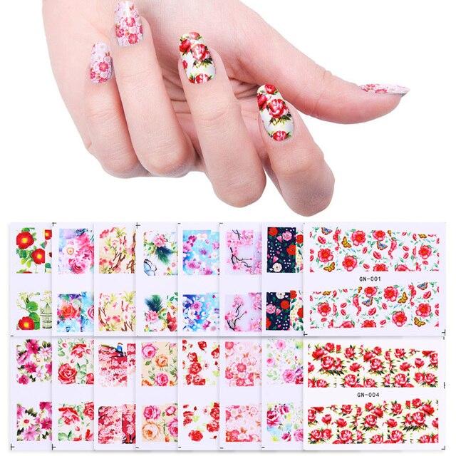48 Patterns Flower Water Decal Rose Butterfly Sakura Pattern Nail Art Transfer Stickers Polish DIY