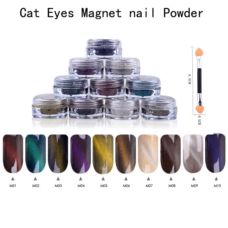 12boxes/set 1g Perfect Cat Eye Effect Magic Mirror Powder UV Gel Polish Nail Art Magnet Glitter Pigment DIY Nail Decoration 12boxes set 1g perfect cat eye effect magic mirror powder uv gel polish nail art magnet glitter pigment diy nail decoration