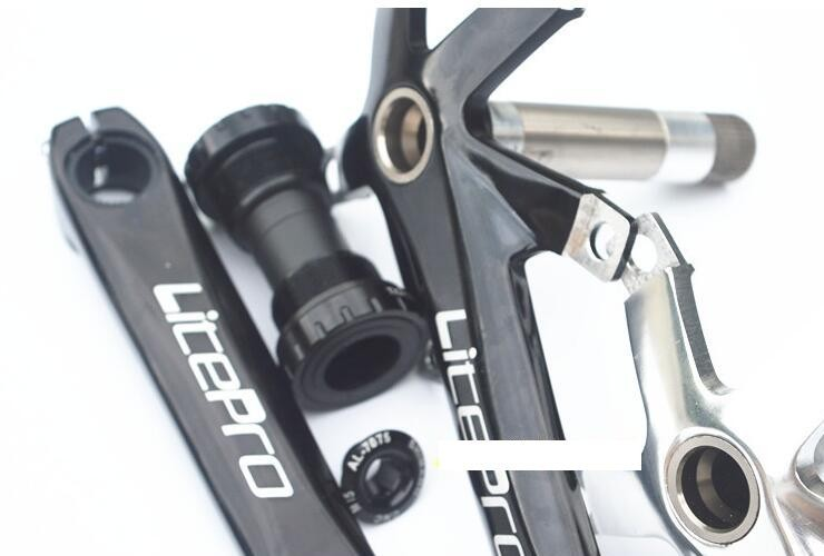 litepro one forged integrated folding bike spline crankset part for 41T 43T 45T 46T 47T 52T 53T 54T 64T BYA412 SP8 P8 bike part titanium folding bike bicycle pedal axles spindles shafts 55g pair for crops vp one vp one vpone primary gold