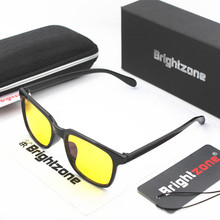 Brightzone Classic Rectangle Black Frame Yellow Tinted Lenses Anti Blue Ray Glasses Recommend For Oval & Round Face Shape Oculos