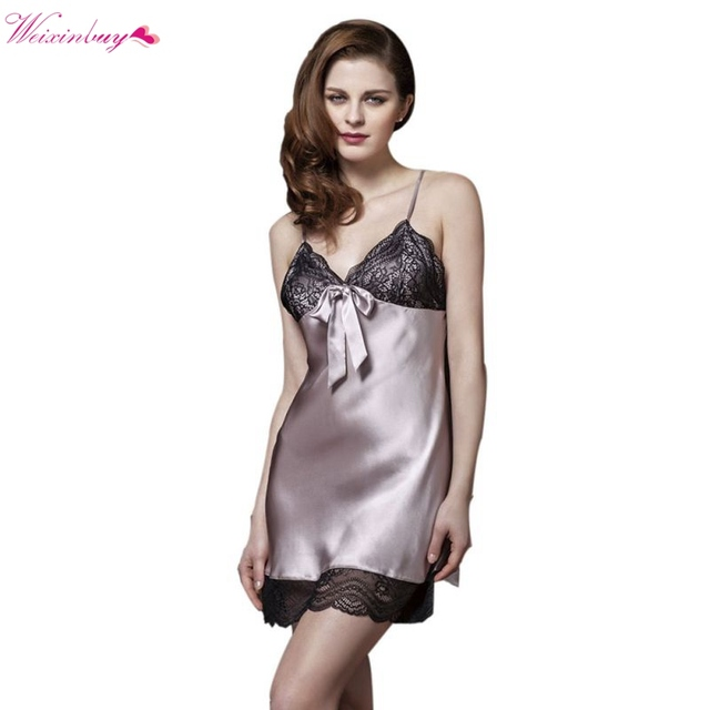 25193c2629 Sexy Ladies Rayon Silk Sleepwear Summer Lace V-neck Women Pijamas Mujer  Strap Nightgown