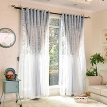 Pastoral 1 PC Solid Color Blackout Curtain and 1 PC Lace Floral Tulle Window Curtains Set for Bedroom /Living Room