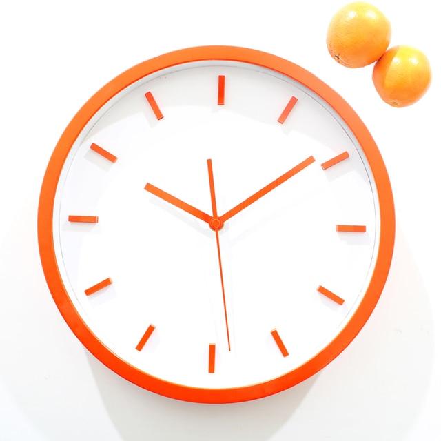 Simple Stereoscopic Orange Wall Clock Fashion Creative Quartz Art 12 Inch