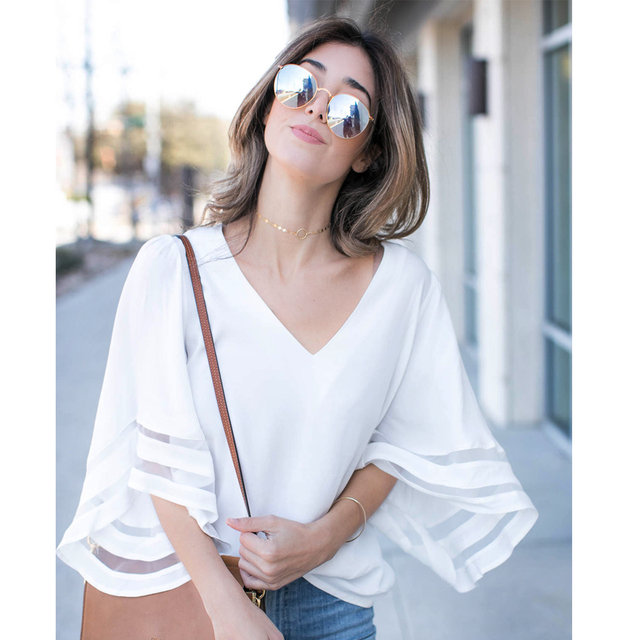 2018 ew style fashion summer  women cute chiffon blouses casual flare sleeve shirts white loose tops