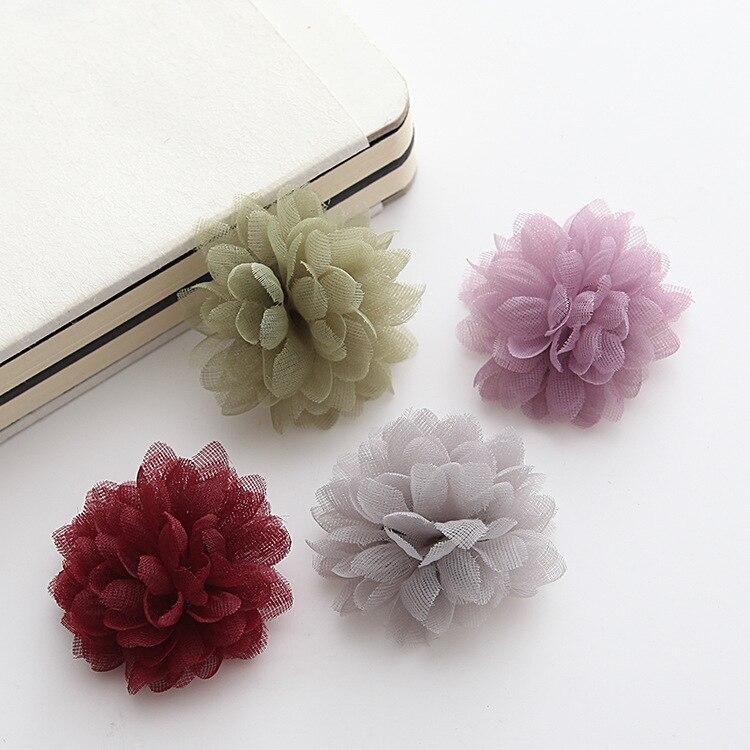 (100 pcs/pack) 4 cm fleur heads BRICOLAGE broche de fleur de revers cheveux clips vin dijon orchidée rose gris