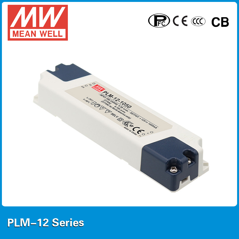 Original MEAN WELL LED power supply PLM-12-500 12W 500mA IP30 with PFC for Indoor led lighting