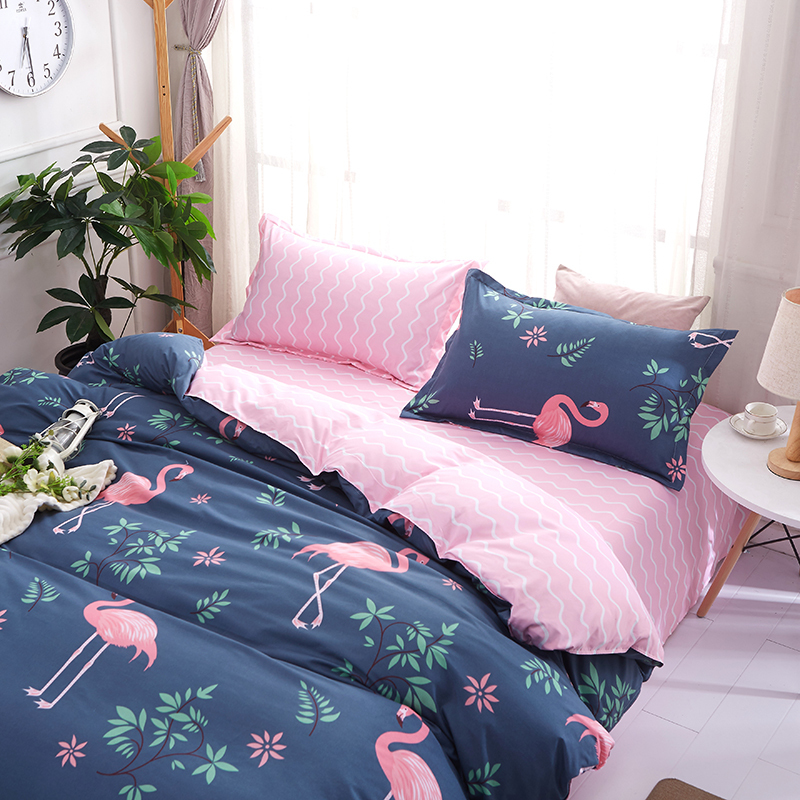 Image 3 - Solstice Cartoon Pink Flamingo Bedding Sets 3/4pcs Geometric Pattern Bed Linings Duvet Cover Bed Sheet Pillowcases Cover Set-in Bedding Sets from Home & Garden
