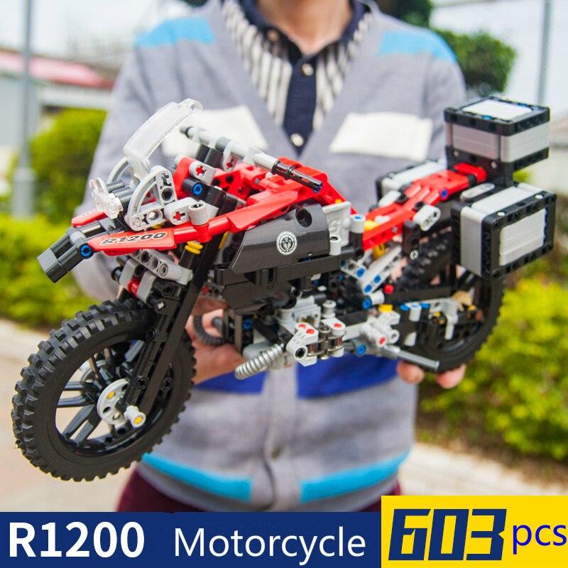 Oyuncaklar ve Hobi Ürünleri'ten Bloklar'de 603pcs Technic City 2 Models Motorcycle Racing Sets Technic Building Blocks Model Kits Children Brick Toys'da  Grup 1