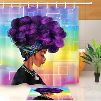 Waterproof Shower Curtain African Woman Polyester Fabric Bathroom Accessory Supply Household Merchandises Decoration with Hooks